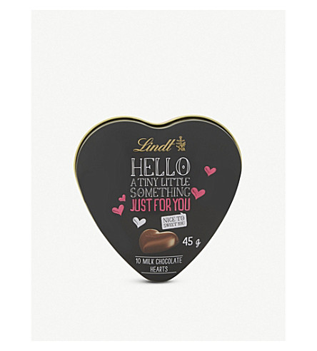 LINDT Hello milk chocolate hearts ten pieces 45g
