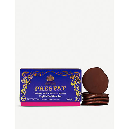 PRESTAT English Earl Grey Tea milk chocolate wafers 200g