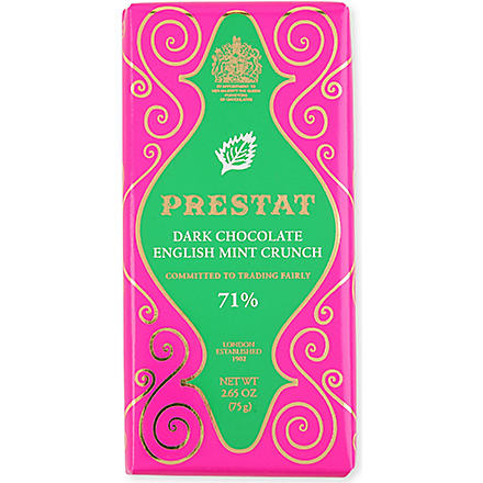 PRESTAT Dark Chocolate English Mint crunch bar 75g