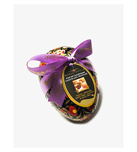 Organic champagne truffles decorative Easter egg 150g