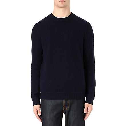 HUGO BOSS Lambswool crew neck jumper (Navy