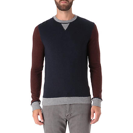 HUGO BOSS Contrast detail knitted jumper (Navy