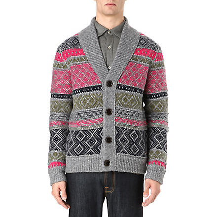 HUGO BOSS Chunky multi-coloured cardigan (Grey