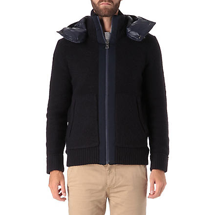 HUGO BOSS Knitted front hooded jacket (Navy