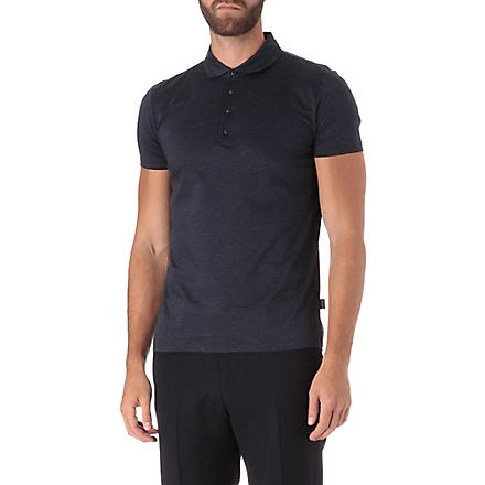 HUGO BOSS Slim-fit shoulder patch polo shirt (Navy