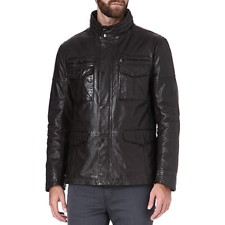 HUGO BOSS Asko leather field jacket (Brown