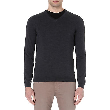 HUGO BOSS V-neck merino wool jumper (Anthracite