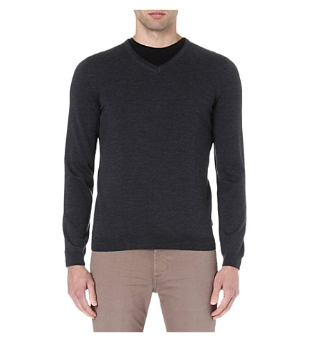 HUGO BOSS V-neck merino wool jumper (Anthracite