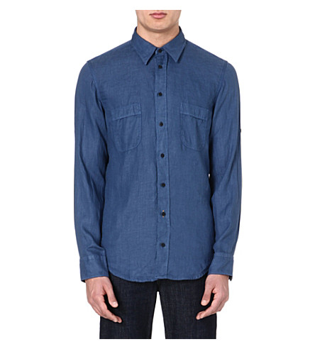HUGO BOSS Plain linen shirt (Blue