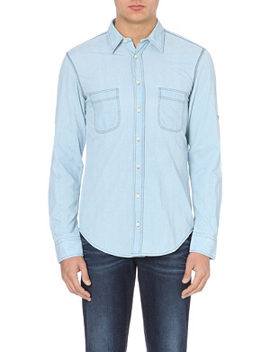 HUGO BOSS Califoe herringbone chambray shirt