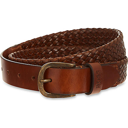 HUGO BOSS Woven leather belt (Tan