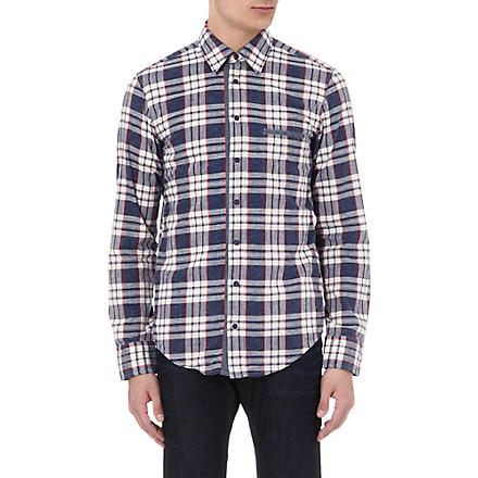 HUGO BOSS Checked slub cotton shirt (Blue