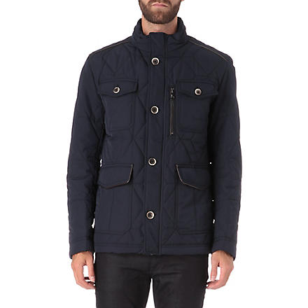 HUGO BOSS Padded leather trim jacket (Navy