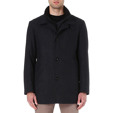 HUGO BOSS Wool-blend coat (Charcoal