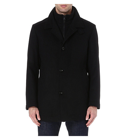 HUGO BOSS Wool-blend coat (Navy