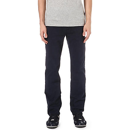 HUGO BOSS Tapered stretch-denim jeans (Navy