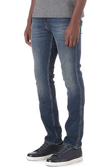HUGO BOSS Distressed slim stretch-denim jeans