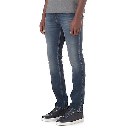HUGO BOSS Distressed slim stretch-denim jeans (Blue