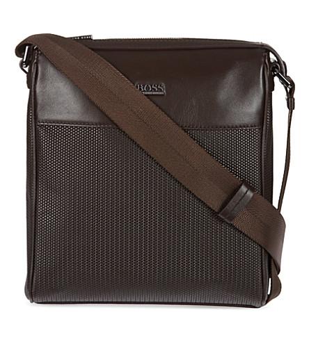 HUGO BOSS Printed weave messenger bag (Black
