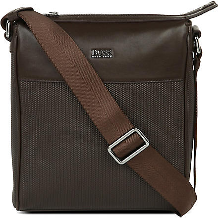 HUGO BOSS Dinamy printed weave postman bag (Brown