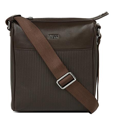 HUGO BOSS Dinamy printed weave postman bag (Brown