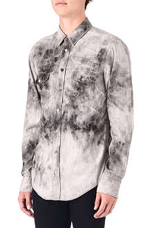 HUGO BOSS Printed bleached denim shirt