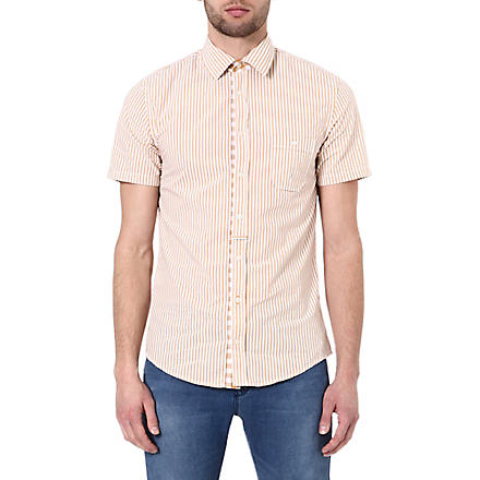 HUGO BOSS Striped short-sleeved shirt (Tan/yellow