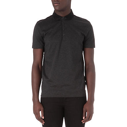 HUGO BOSS Fine stripe polo shirt (Black