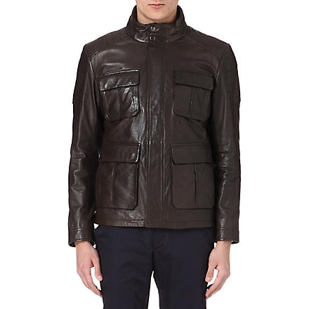 HUGO BOSS Ganvin leather field jacket (Brown