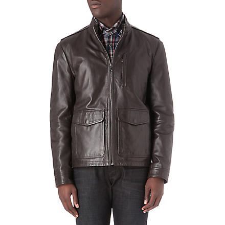 HUGO BOSS Ginu leather jacket (Brown