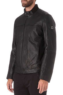 HUGO BOSS Leather bomber jacket