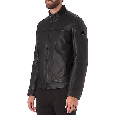HUGO BOSS Leather bomber jacket (Black