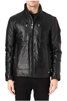 HUGO BOSS Jakeem multi panel leather jacket