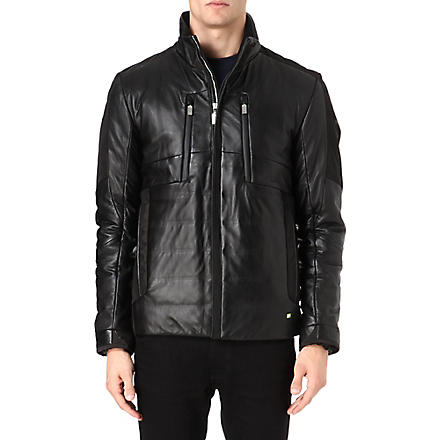 HUGO BOSS Jakeem multi panel leather jacket (Black