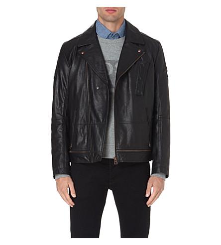HUGO BOSS Jama leather biker jacket (Black