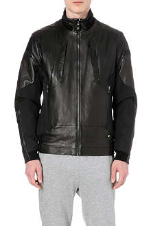 HUGO BOSS Janay leather-panelled blouson jacket