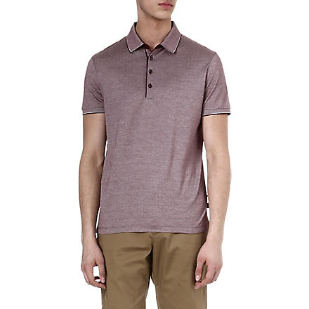 HUGO BOSS Merci stitch detail polo shirt (Burgandy