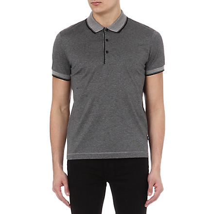 HUGO BOSS Fine stripe mercirised polo shirt (Black