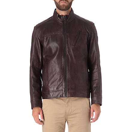 HUGO BOSS Jips leather blouson jacket (Chestnut