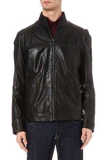 HUGO BOSS Panelled zip-through leather jacket