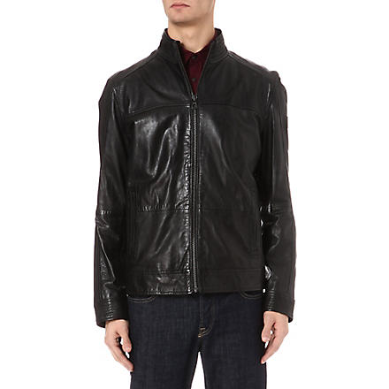 HUGO BOSS Panelled zip-through leather jacket (Black