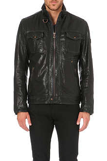 HUGO BOSS Washed leather biker jacket