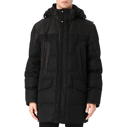 HUGO BOSS Long quilted coat (Black