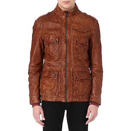HUGO BOSS Leather field jacket (Tan