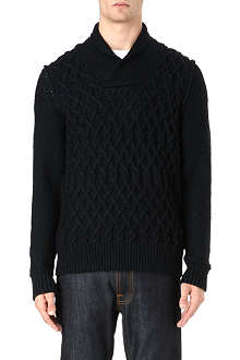 HUGO BOSS Shawl neck cable knit jumper