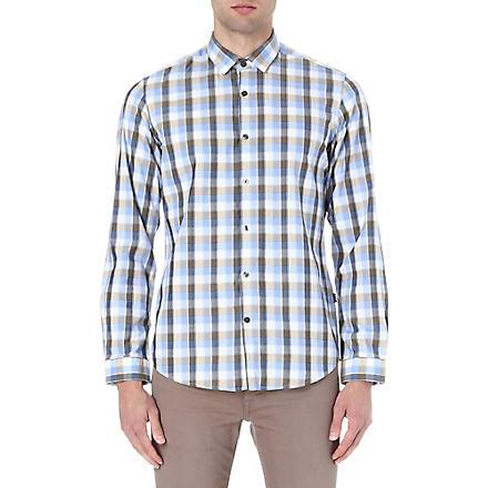 HUGO BOSS Herringbone checked shirt (Cream