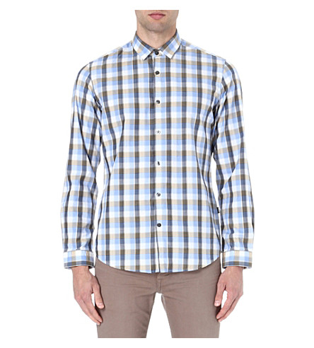 HUGO BOSS Herringbone checked shirt (Cream