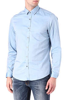 HUGO BOSS Textured plain cotton shirt