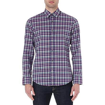 HUGO BOSS Poplin checked shirt (Purple