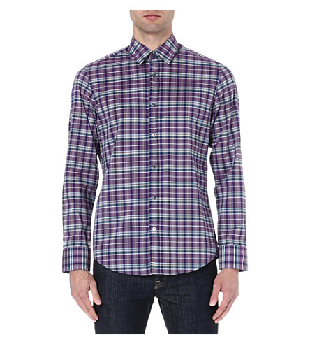 HUGO BOSS Poplin checked shirt (Purple